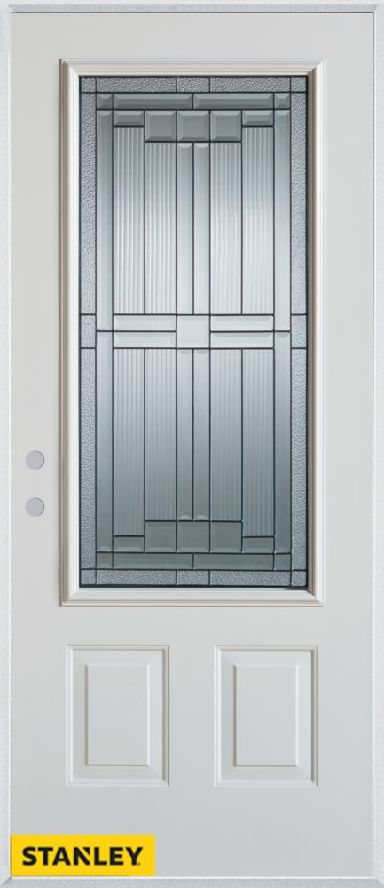 32-inch x 80-inch Architectural Zinc 3/4-Lite 2-Panel White Steel Entry Door with Right Inswing