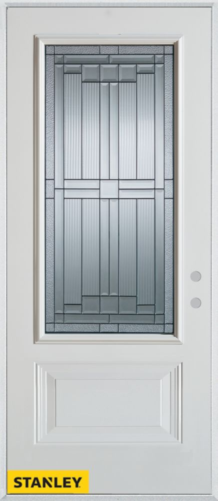 Porte dentrée en acier préfini blanc, munie de d'un panneau et dun 3/4 verre patina, 32 po x 80 p...