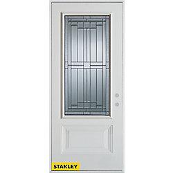 Stanley Doors Porte dentrée en acier préfini blanc, munie de d'un panneau et dun 3/4 verre zinc, 34 po x 80 po - Gauche - ENERGY STAR®