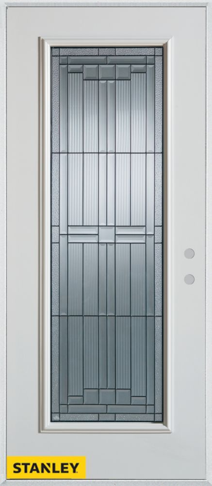 34-inch x 80-inch Architectural Zinc Full Lite White Steel Entry Door with Left Inswing