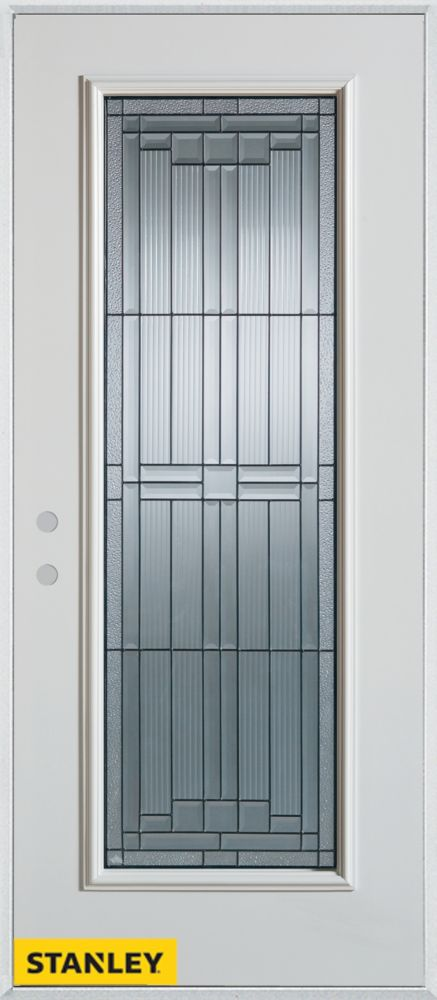 34-inch x 80-inch Architectural Zinc Full Lite White Steel Entry Door with Right Inswing
