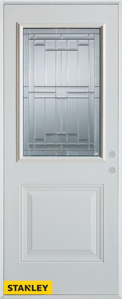 32-inch x 80-inch Architectural Zinc 1/2-Lite 1-Panel White Steel Entry Door with Left Inswing