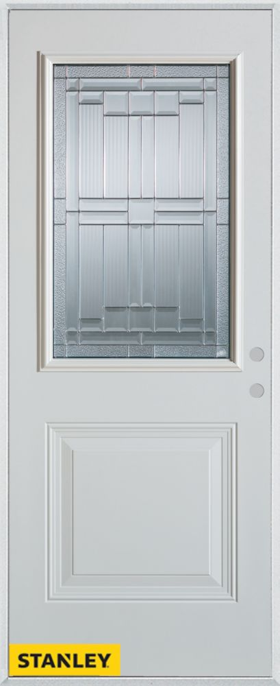 36-inch x 80-inch Architectural Zinc 1/2-Lite 1-Panel White Steel Entry Door with Left Inswing