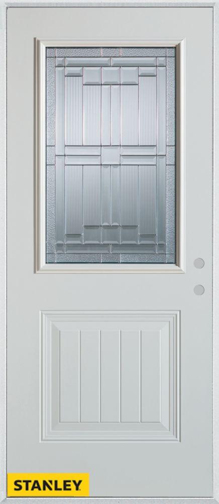 Porte dentrée en acier préfini blanc, munie d'un panneau et dun 1/2 verre patina, 36 po x 80 po -...