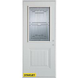 Stanley Doors Porte dentrée en acier préfini blanc, munie d'un panneau et dun 1/2 verre zinc, 36 po x 80 po - Gauche - ENERGY STAR®