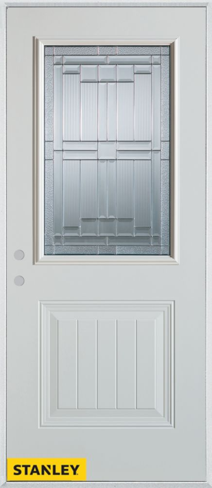 36-inch x 80-inch Architectural Zinc 1/2-Lite 1-Panel White Steel Entry Door with Right Inswing