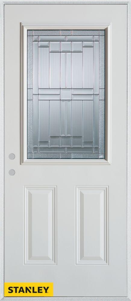 Porte dentrée en acier préfini blanc, munie de deux panneaux et dun 1/2 verre patina, 36 po x 80 ...