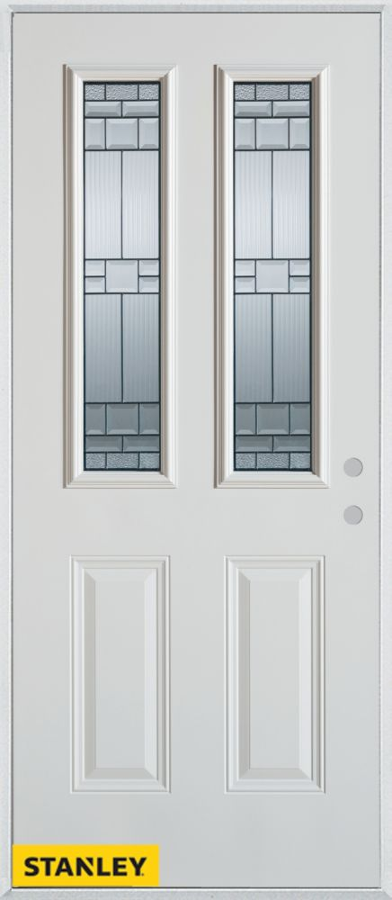 32-inch x 80-inch Architectural Zinc 2-Lite 2-Panel White Steel Entry Door with Left Inswing