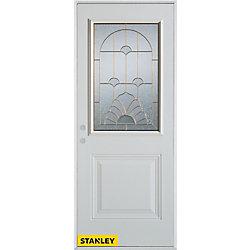 Stanley Doors Porte dentrée en acier préfini blanc, munie d'un panneau et dun 1/2 verre patina, 34 po x 80 po - Droite - ENERGY STAR®