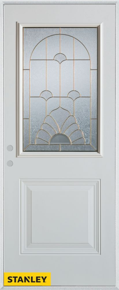34-inch x 80-inch Art Deco Patina 1/2-Lite 1-Panel White Steel Entry Door with Right Inswing