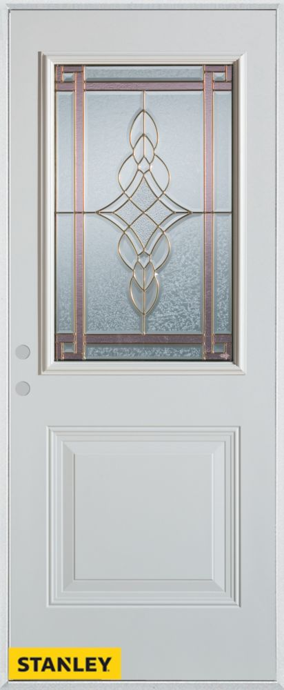 34-inch x 80-inch Art Deco 1/2-Lite 1-Panel White Steel Entry Door with Right Inswing