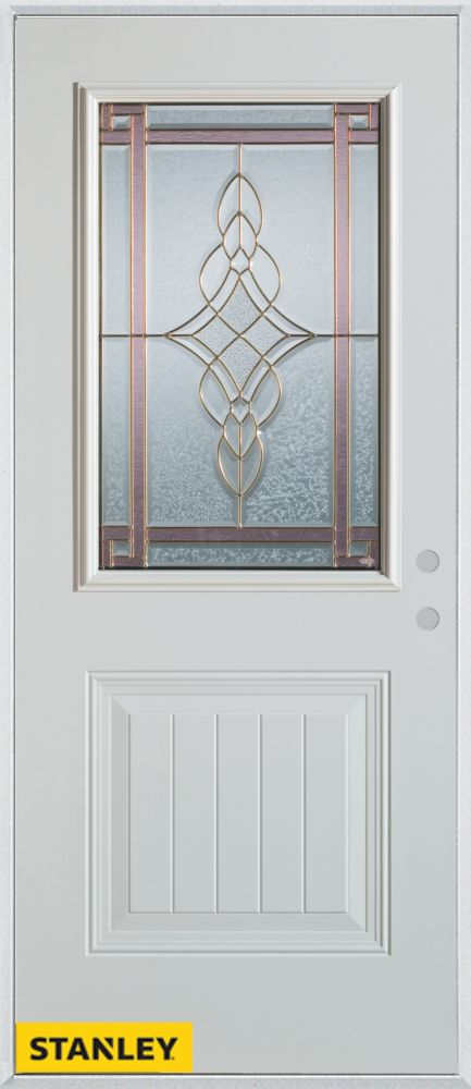 32-inch x 80-inch Art Deco 1/2-Lite 1-Panel White Steel Entry Door with Left Inswing