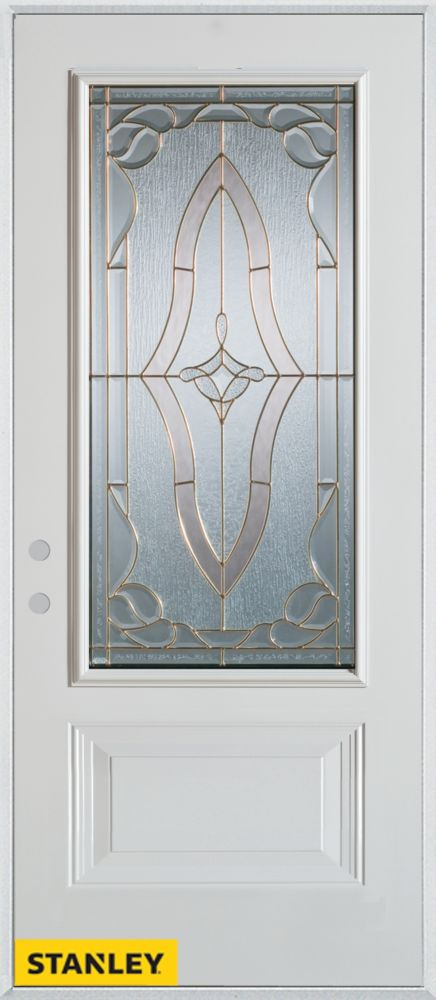 36-inch x 80-inch Art Deco Patina 3/4-Lite 1-Panel White Steel Entry Door with Right Inswing