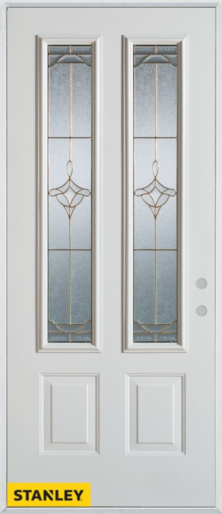 Stanley Doors 36 Inch X 80 Inch Art Deco Patina 2 Lite 2 Panel White Steel En