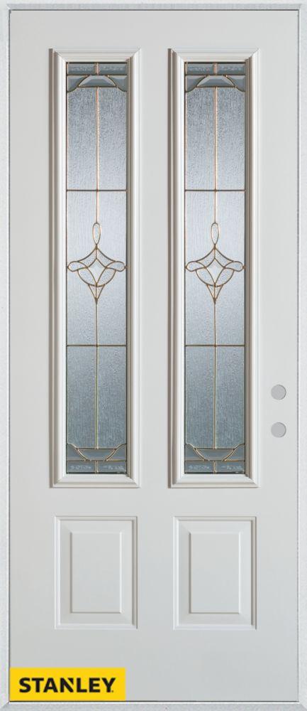 Stanley Doors 36 Inch X 80 Inch Art Deco Patina 2 Lite 2 Panel White Steel Entry Door With Left