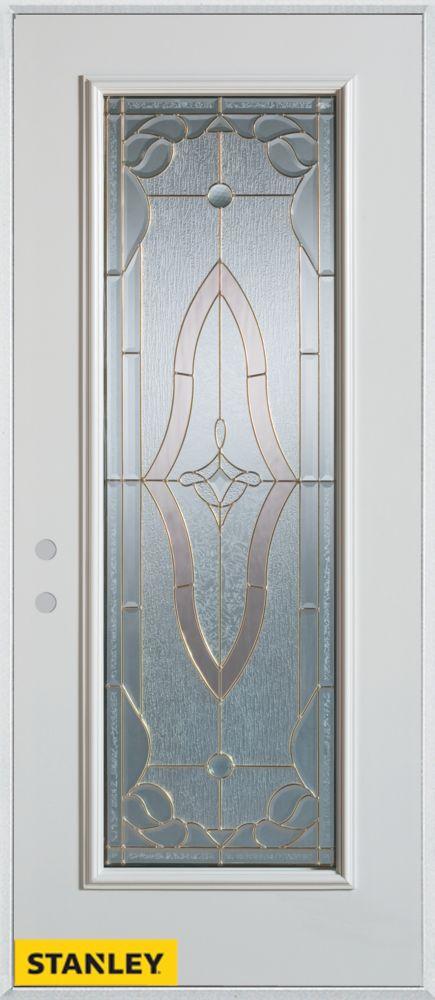 Porte dentrée en acier préfini blanc, munie d'un panneau de verre, 32 po x 80 po - Droite