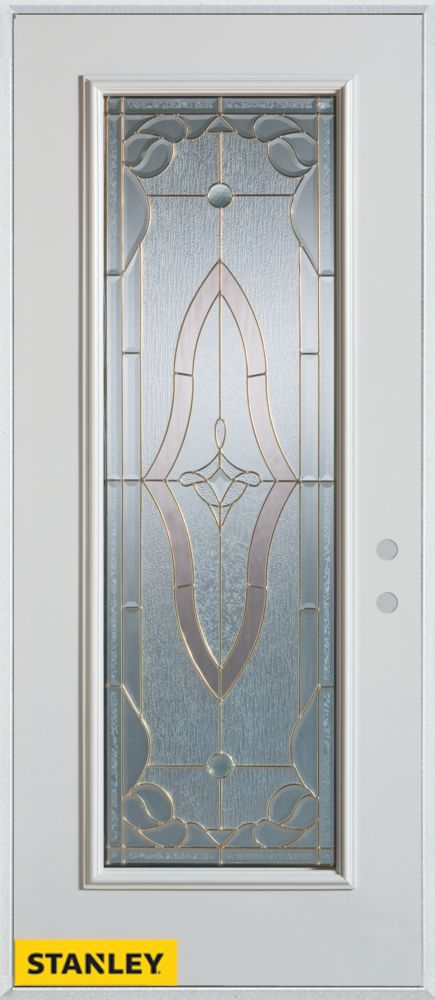 34-inch x 80-inch Art Deco Patina Full Lite White Steel Entry Door with Left Inswing