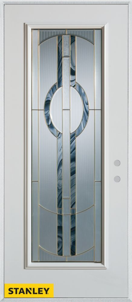 32-inch x 80-inch Art Deco Patina Full Lite White Steel Entry Door with Left Inswing