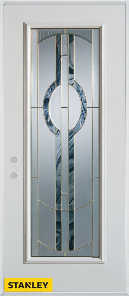 34-inch x 80-inch Art Deco Patina Full Lite White Steel Entry Door with Right Inswing