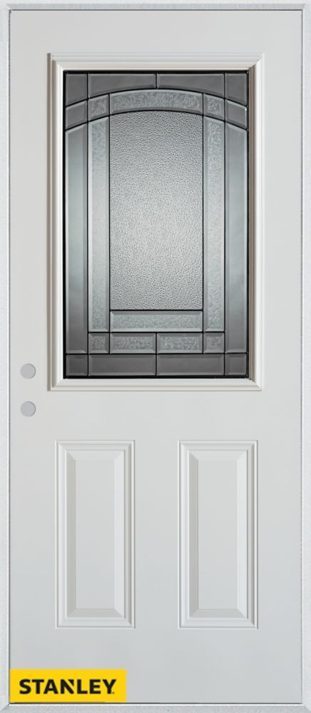 Stanley Doors 35.375 inch x 82.375 inch Chatham Patina 1/2 Lite 2-Panel Prefinished White Right-Hand Inswing Steel Prehung Front Door - ENERGY STAR®