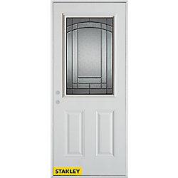 Stanley Doors Porte dentrée en acier préfini blanc, munie de deux panneaux et dun 1/2 verre, 36 po x 80 po - Droite - ENERGY STAR®