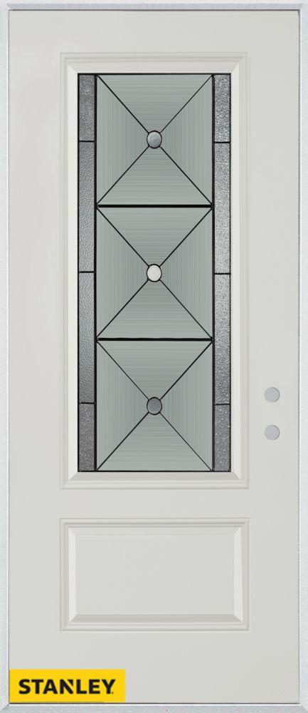 Porte dentrée en acier préfini blanc, munie d'un panneau et dun 3/4 verre, 32 po x 80 po - Gauche