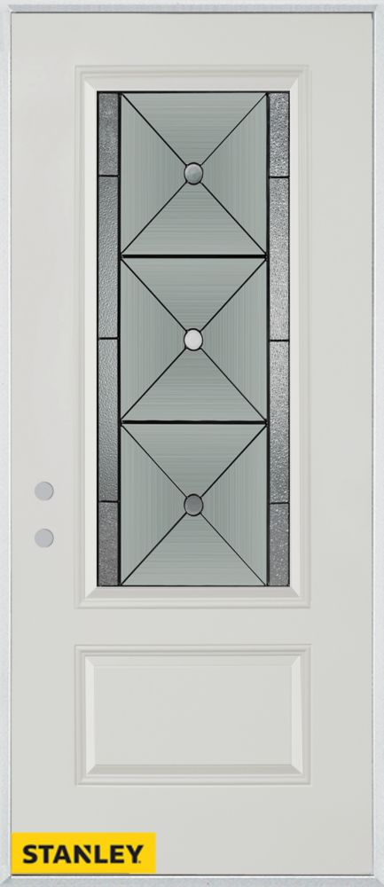 32-inch x 80-inch Bellochio Patina 3/4-Lite 1-Panel White Steel Entry Door with Right Inswing