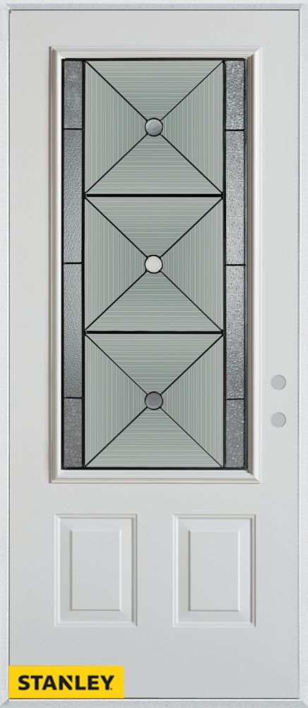 32-inch x 80-inch Bellochio Patina 3/4-Lite 2-Panel White Steel Entry Door with Left Inswing