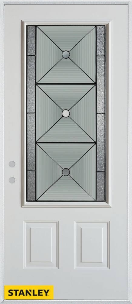 36-inch x 80-inch Bellochio Patina 3/4-Lite 2-Panel White Steel Entry Door with Right Inswing