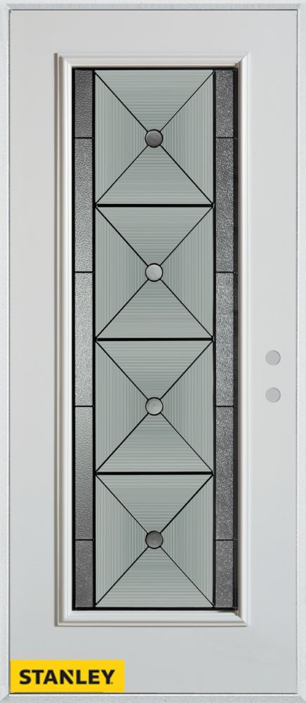 32-inch x 80-inch Bellochio Patina Full Lite White Steel Entry Door with Left Inswing