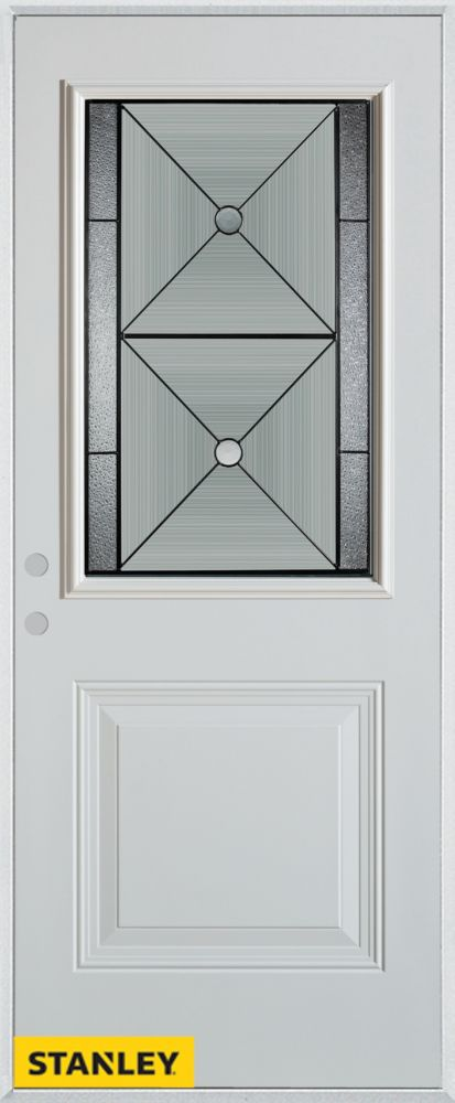 32-inch x 80-inch Bellochio Patina 1/2-Lite 1-Panel White Steel Entry Door with Right Inswing