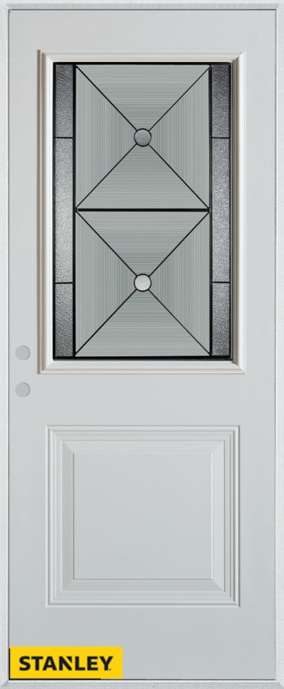 36-inch x 80-inch Bellochio Patina 1/2-Lite 1-Panel White Steel Entry Door with Right Inswing