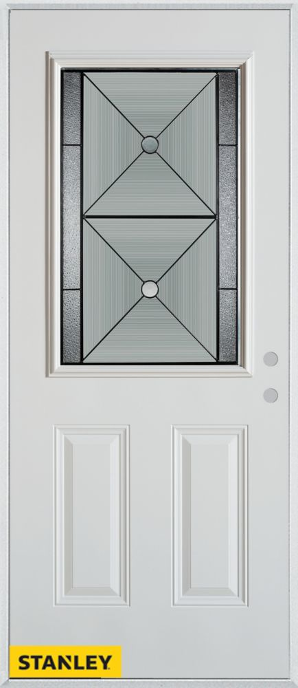 32-inch x 80-inch Bellochio Patina 1/2-Lite 2-Panel White Steel Entry Door with Left Inswing