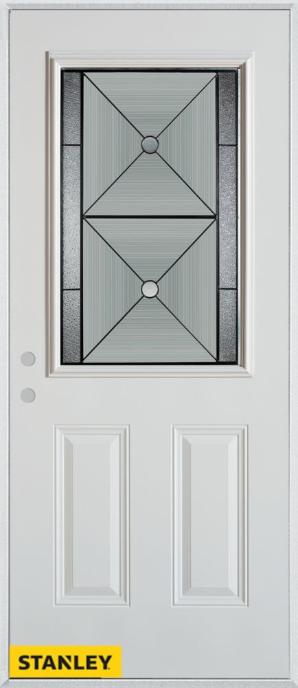 33.375 inch x 82.375 inch Bellochio Patina 1/2 Lite 2-Panel Prefinished White Right-Hand Inswing Steel Prehung Front Door - ENERGY STAR®