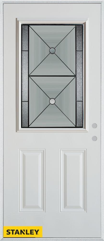 Porte dentrée en acier préfini blanc, munie de deux panneaux et dun 1/2 verre, 36 po x 80 po - Ga...