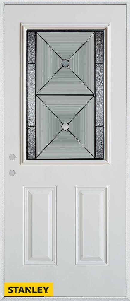 Porte dentrée en acier préfini blanc, munie de deux panneaux et dun 1/2 verre, 36 po x 80 po - Dr...