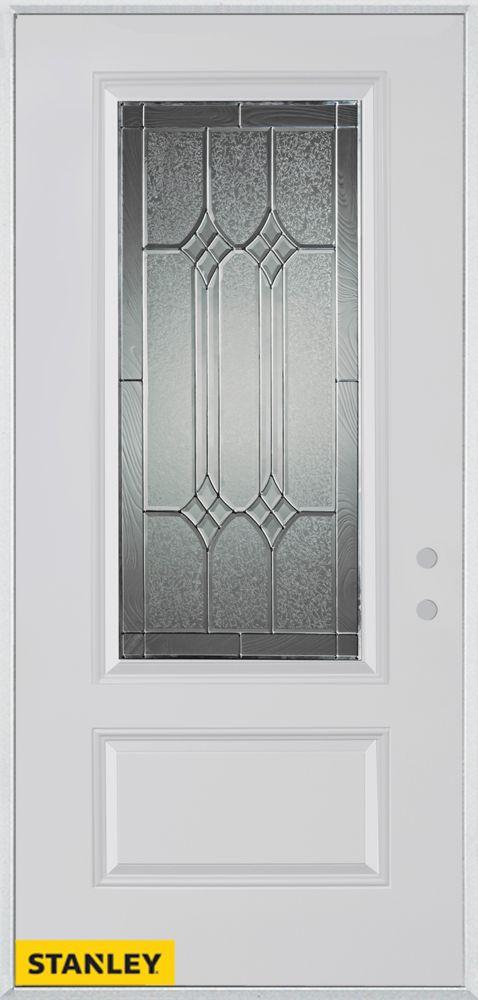 Porte dentrée en acier préfini blanc, munie d'un panneau et dun 3/4 verre zinc, 32 po x 80 po - G...