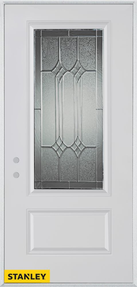 33.375 inch x 82.375 inch Orleans Patina 3/4 Lite 1-Panel Prefinished White Right-Hand Inswing Steel Prehung Front Door - ENERGY STAR®