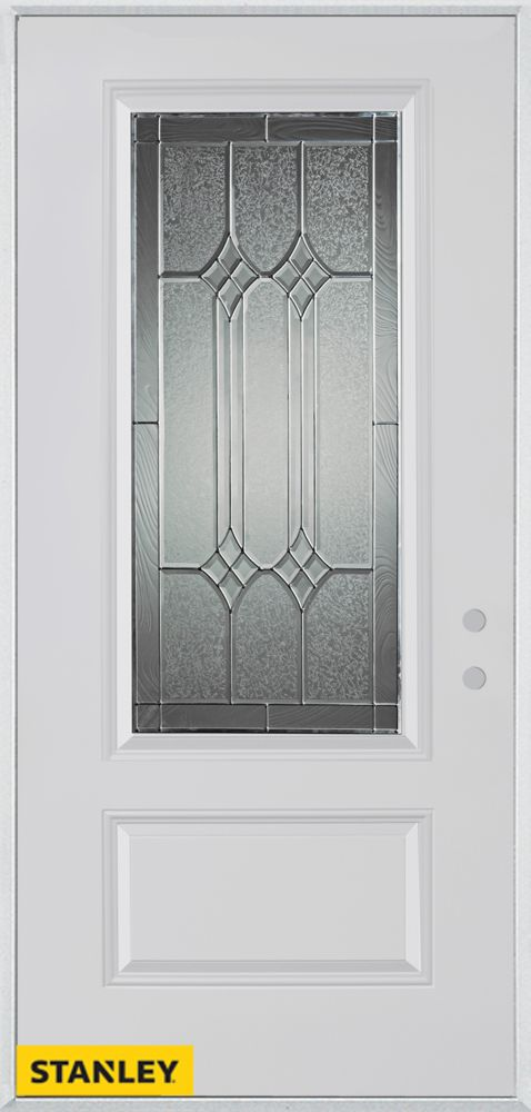 Stanley Doors 37.375 inch x 82.375 inch Orleans Patina 3/4 Lite 1-Panel Prefinished White Left-Hand Inswing Steel Prehung Front Door - ENERGY STAR®