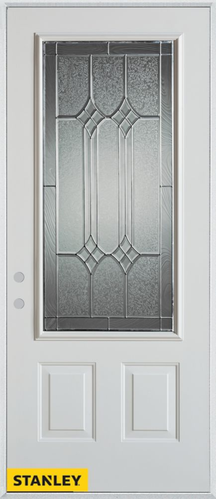Stanley Doors 33.375 inch x 82.375 inch Orleans Patina 3/4 Lite 2-Panel Prefinished White Right-Hand Inswing Steel Prehung Front Door - ENERGY STAR®
