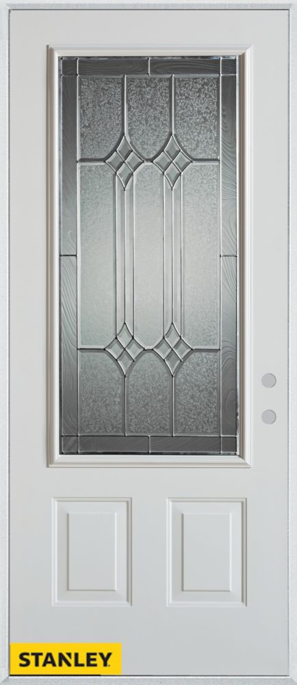Stanley Doors 35.375 inch x 82.375 inch Orleans Patina 3/4 Lite 2-Panel Prefinished White Left-Hand Inswing Steel Prehung Front Door - ENERGY STAR®