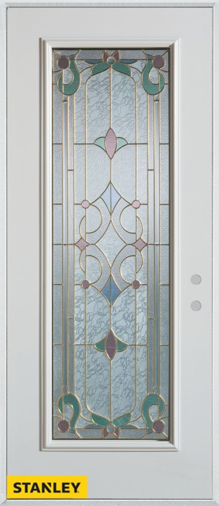 32-inch x 80-inch Art Deco Full Lite White Steel Entry Door with Left Inswing