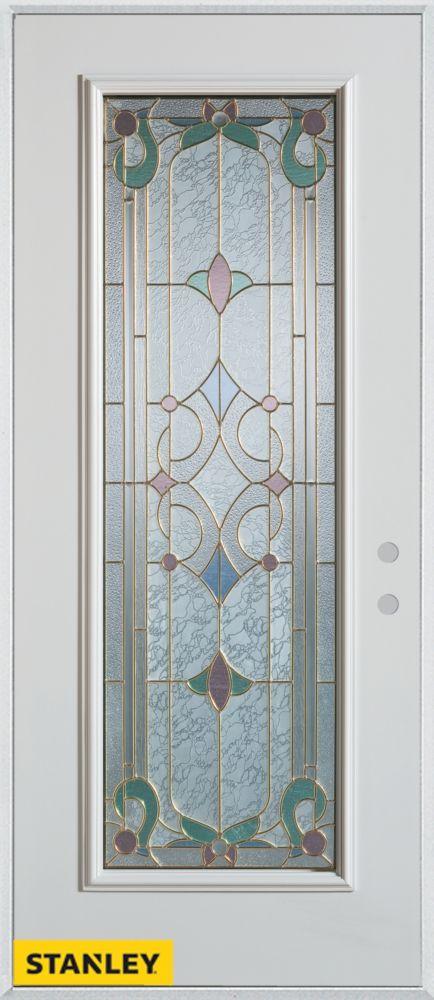 Porte dentrée en acier préfini blanc, munie d'un panneau de verre patina, 32 po x 80 po - Gauche