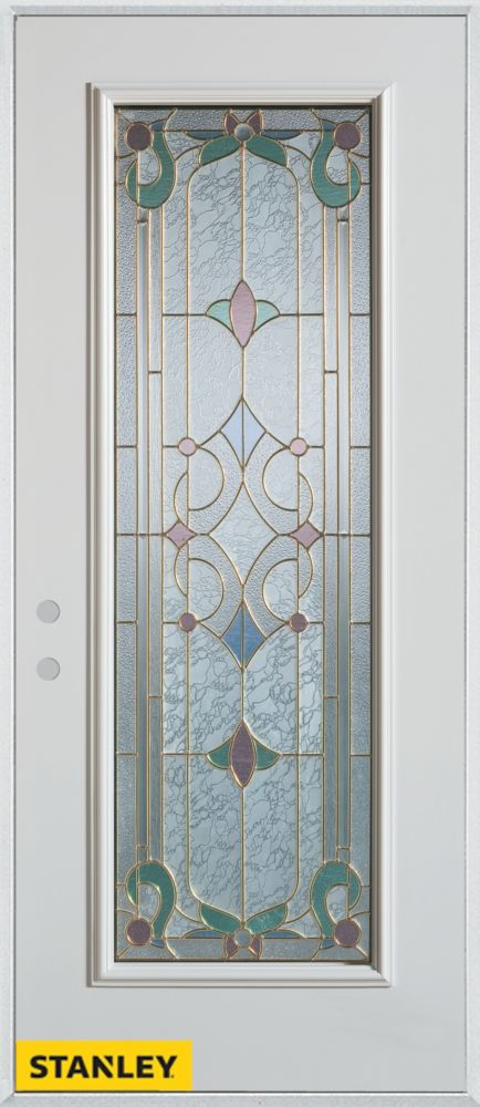Stanley Doors 37.375 inch x 82.375 inch Aristocrat Patina Full Lite Prefinished White Right-Hand Inswing Steel Prehung Front Door - ENERGY STAR®