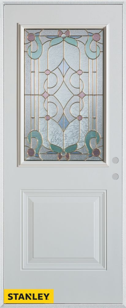 32-inch x 80-inch Art Deco Patina 1/2-Lite 1-Panel White Steel Entry Door with Left Inswing