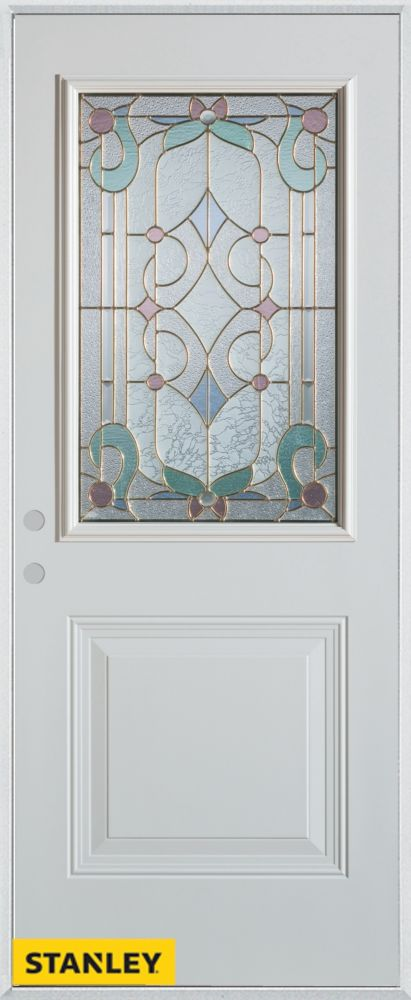 32-inch x 80-inch Art Deco Patina 1/2-Lite 1-Panel White Steel Entry Door with Right Inswing