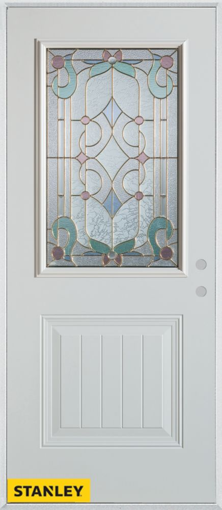 36-inch x 80-inch Art Deco Patina 1/2-Lite 1-Panel White Steel Entry Door with Left Inswing