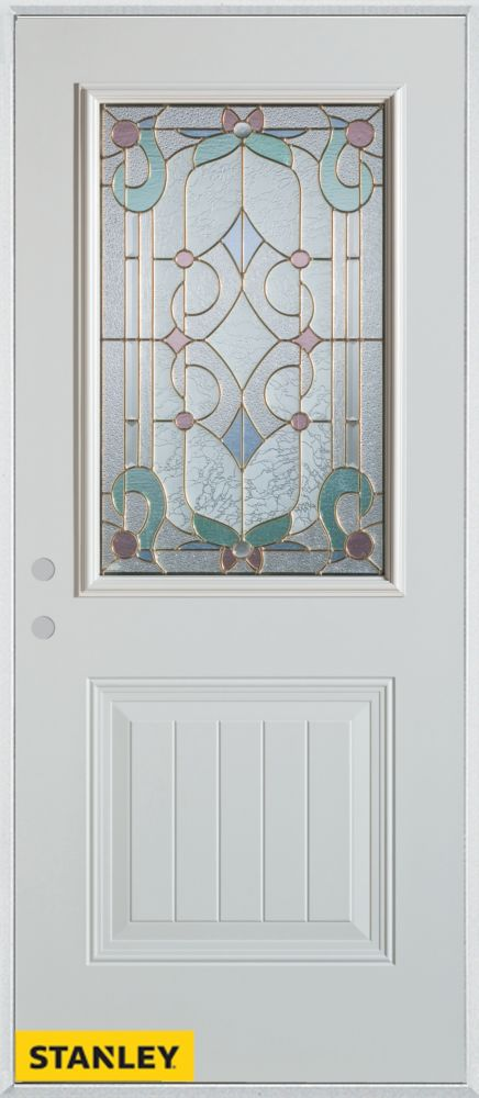 36-inch x 80-inch Art Deco Patina 1/2-Lite 1-Panel White Steel Entry Door with Right Inswing