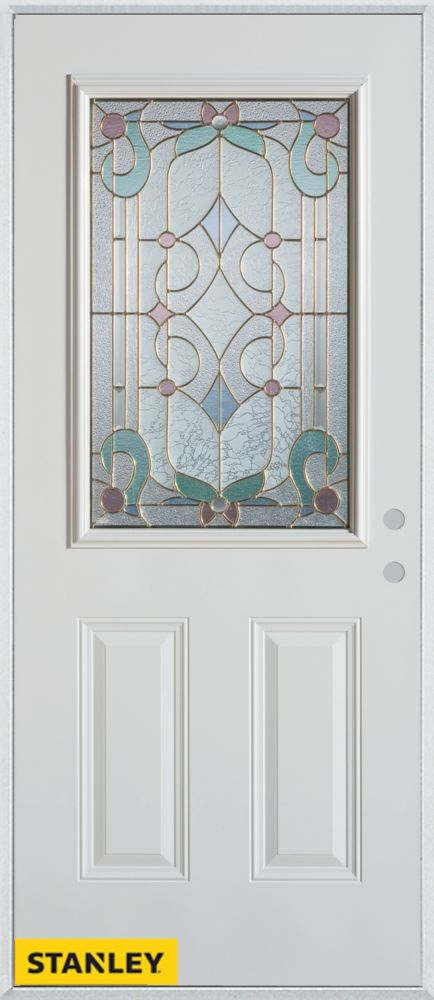 32-inch x 80-inch Art Deco Patina 1/2-Lite 2-Panel White Steel Entry Door with Left Inswing