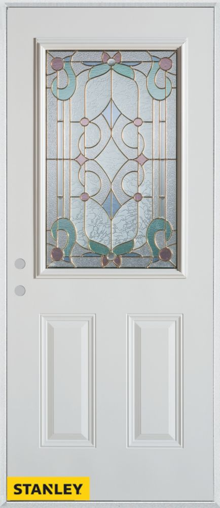 34-inch x 80-inch Art Deco Patina 1/2-Lite 2-Panel White Steel Entry Door with Right Inswing